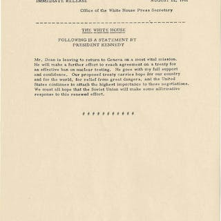 Important JFK Statement Outlining Negotiations That Would Later Become
