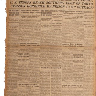1945 ''New York Times'' Newspaper -- ''Japanese Premier To Sign Surrender