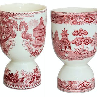 Marlene Dietrich Personally Owned Set of Red Transferware Double Egg Cups
