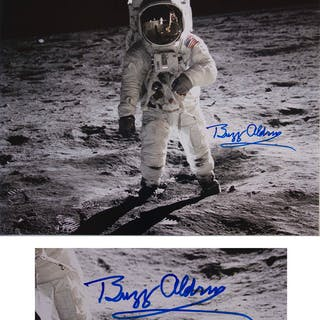 Buzz Aldrin Signed 20'' x 16'' Photo as He Walks on the Moon -- With