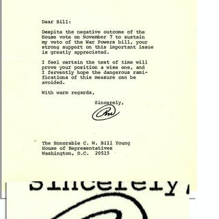 Richard Nixon Letter Signed as President From November 1973 Regarding