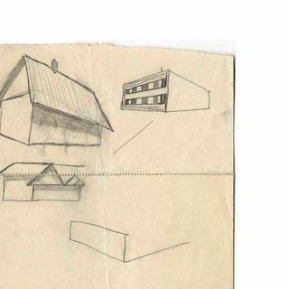 Dwight D. Eisenhower Sketch as President -- Eisenhower Draws a Farmhouse Barn