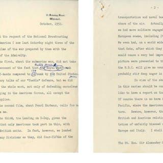 Winston Churchill Manuscript as Prime Minster -- Refuting an American