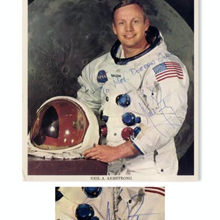 Neil Armstrong Signed 8'' x 10'' Photo in His White Spacesuit -- Near