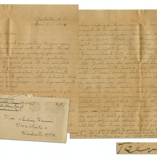 WWII Hero Rene Gagnon Autograph Letter Signed & Signed Envelope --