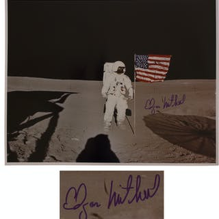 Apollo 14 Astronaut Edgar Mitchell Signed 20'' x 16'' Photo