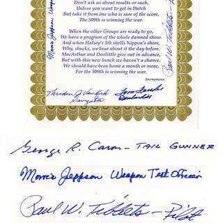 WWII Poem Signed by Five Enola Gay Crew Members -- Tom Ferebee, Theodore