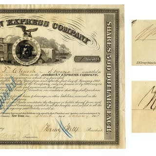 American Express Stock From 1865 Signed by Henry Wells and William