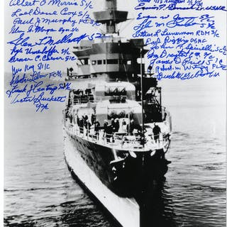 U.S.S. Indianapolis Survivors Signed 8'' x 10'' Photo -- Signed by 24 Survivors