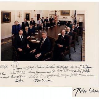 Bill Clinton Signed 20'' x 15'' Photograph of His Entire Cabinet --