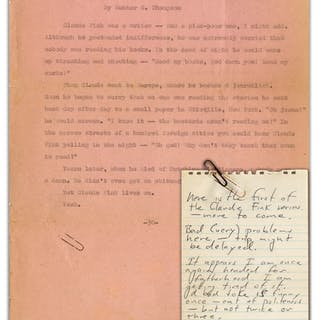 Hunter Thompson Typed Story Featuring His ''Claude Fink'' Protagonist