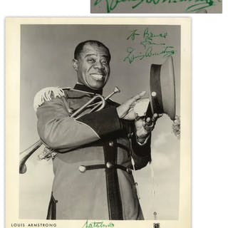 Louis Armstrong Signed 8'' x 10'' Photo -- Signed Both as ''Louis