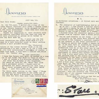 Stan Laurel Letter Signed -- ''...The character of Lord Paddington