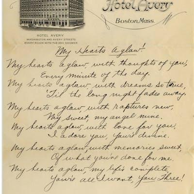 Moe Howard Handwritten Poem To His Family Entitled My