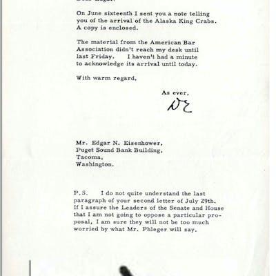 Dwight Eisenhower Presidential Typed Letter Signed -- ''...I sent