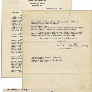 1942 Letter Detailing the Torpedo Damage on the U.S.S. California