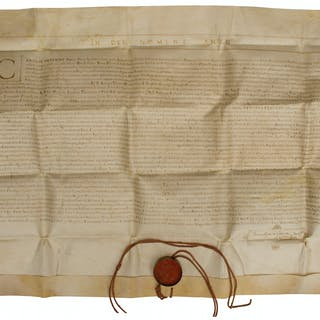 Large Medieval Manuscript Measuring 28'' x 22'' -- Theological Appointment