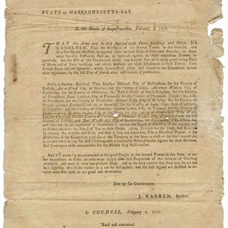 1777 Revolutionary War Broadside -- ''...purchase for the use of the