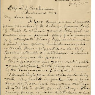 Abraham Lincoln Assassination Letter to Boarder at the Surratt House