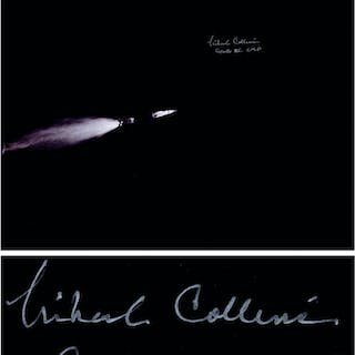Michael Collins Signed 20'' x 16'' Photo of the Apollo 11 Saturn Rocket