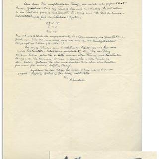 Albert Einstein Autograph Letter Signed ''A. Einstein'' With His Handwritten