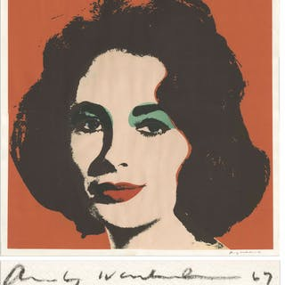 Andy Warhol 1967 Red ''Liz'' Lithograph -- One of His Rarer Lithographs