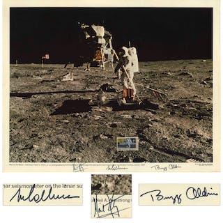Apollo 11 Crew Signed 20'' x 16'' Lithograph -- Bold, Uninscribed