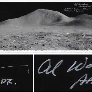 Al Worden & Dave Scott Signed Panoramic 40.5'' x 8.5'' Photo of the