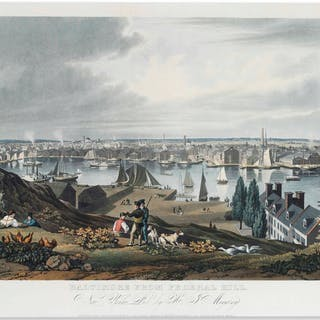 'Baltimore From Federal Hill'' Hand-Colored Folio Aquatint From 1831