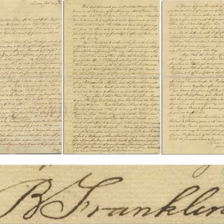 Benjamin Franklin Letter Signed to Scotsman Lord Kames, Mentioning