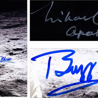 Michael Collins & Buzz Aldrin Signed 20'' x 16'' Photo of the First