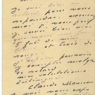 Claude Monet Autograph Letter Signed -- Monet Writes to His Wine Merchant