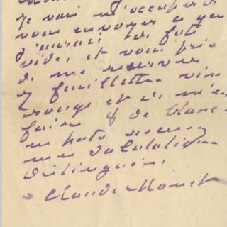 Claude Monet Autograph Letter Signed -- Monet Writes to His Wine Merchant