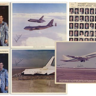 Lot of 8 Signed Photos Given by Dick Scobee to His Family -- Including