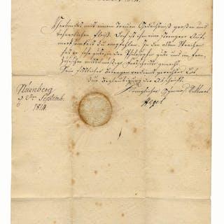 Georg Wilhelm Friedrich Hegel Document Signed -- The Iconic Philosopher