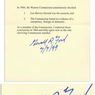 Gerald Ford Manuscript Signed Regarding the Warren Commission -- ''As
