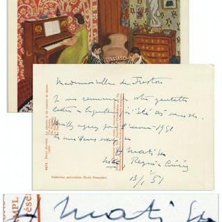Henri Matisse Autograph Letter Signed on the Verso of a Postcard Featuring