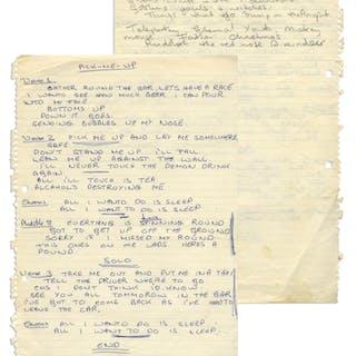 John Entwistle of The Who Handwritten Lyrics to ''Pick-Me-Up'' --