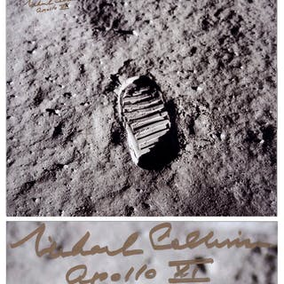Michael Collins Signed 20'' x 16'' Photo of the First Footprint Upon the Moon