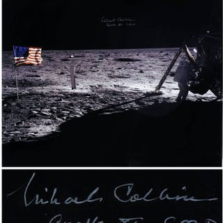 Michael Collins Signed 20'' x 16'' Photo of the Moon, Capturing Both