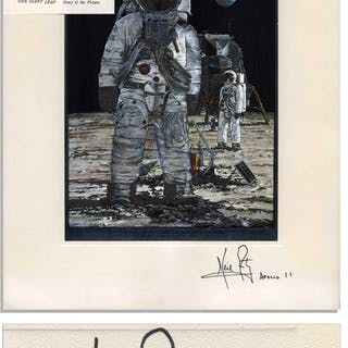 Neil Armstrong Signed Artwork of Armstrong Standing on the Lunar Surface