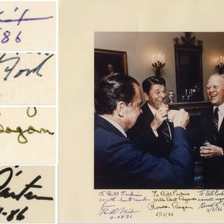 Four Presidents Signed Photo Measuring 14'' x 10.75'' -- Signed by