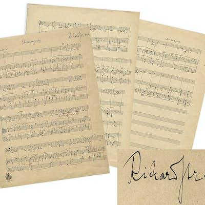 Richard Strauss Signed, Handwritten Musical Manuscript for the Final