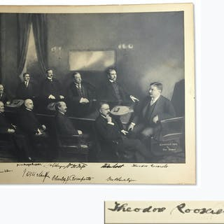 Theodore Roosevelt Signed Cabinet Photo -- Roosevelt Signs the Photo