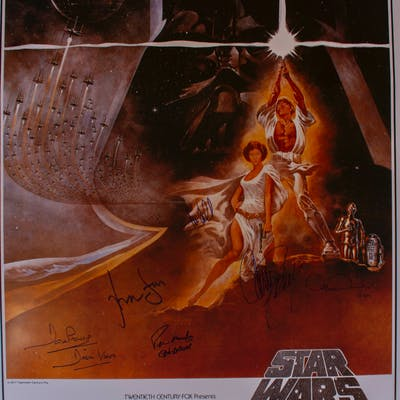''Star Wars'' Cast-Signed Movie Poster -- Signed by Mark Hamill, Carrie