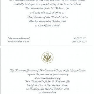 Invitations to the Investiture Ceremony and Reception of Supreme Court
