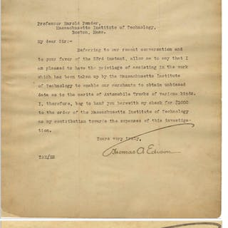 Thomas Edison Letter Signed Regarding Work Done by MIT to ''obtain