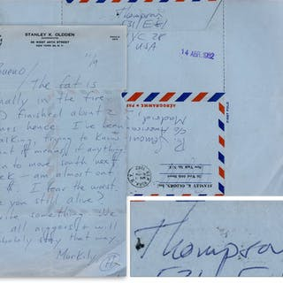 Hunter S. Thompson Autograph Letter Signed After Just Completing His