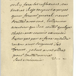 Voltaire Autograph Letter Signed Regarding Excessive Taxation by a