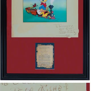 Walt Disney Signed Dye Transfer Print of Donald Duck From ''Out of Scale''